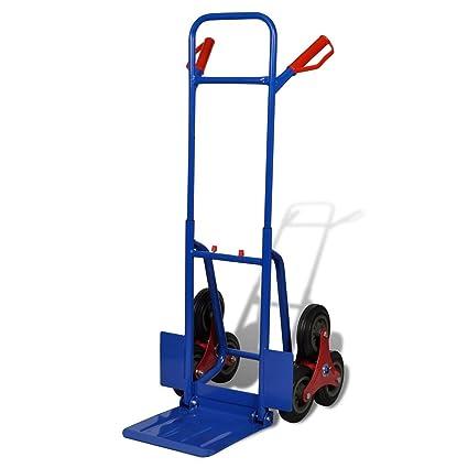 Carro para escaleras, con 6 ruedas, de color rojo y azul, carga máxima