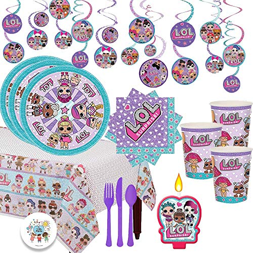 (LOL Surprise Deluxe Dessert Party Supplies Pack For 16 With Dessert Plates and Napkins, Cutlery, Cups, Tablecover, Swirl Decoration, and Exclusive Birthday Pin By Another Dream!)