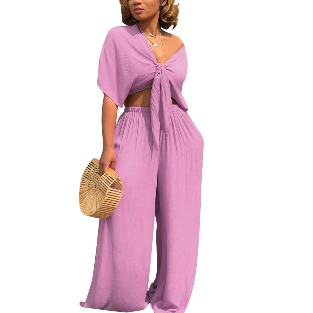 Womens Two Piece Outfits Front Tie Crop Top and Loose Wide Leg Bell Bottom Palazzo Pants Set Jumpsuit Purple M