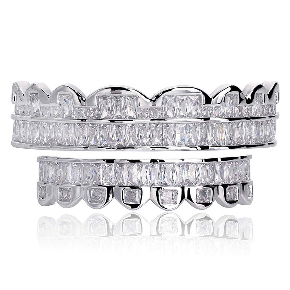 Moca Jewelry Hip Hop Unisex 18K Gold Plated Iced Out CZ Simulated Diamond Top Bottom Teeth Grillz Set for Men Women by Moca Jewelry