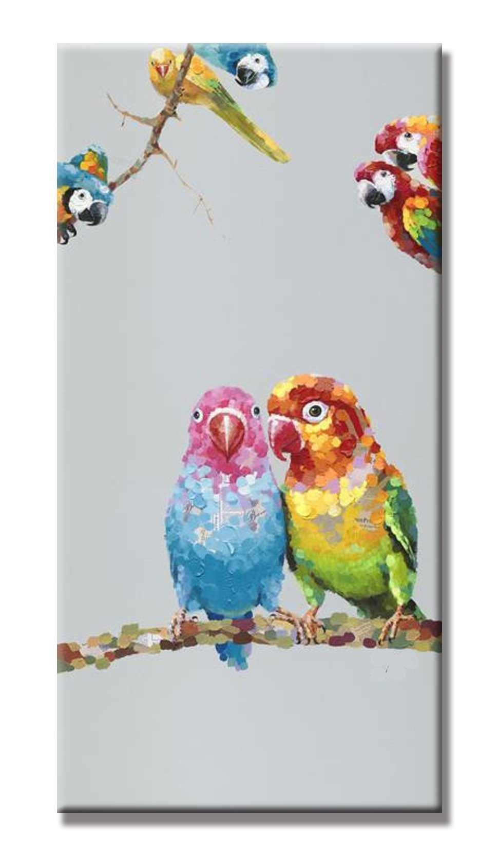 SEVEN WALL ARTS - 100% Hand Painted Oil Painting Cute Animals with Stretched Frame Artwork For Wall Decor 18 x 36 Inch (Love Birds)