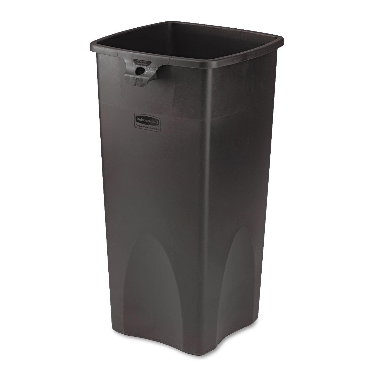 Rubbermaid 356988BK Untouchable Waste Container, Square, Plastic, 23gal, Black