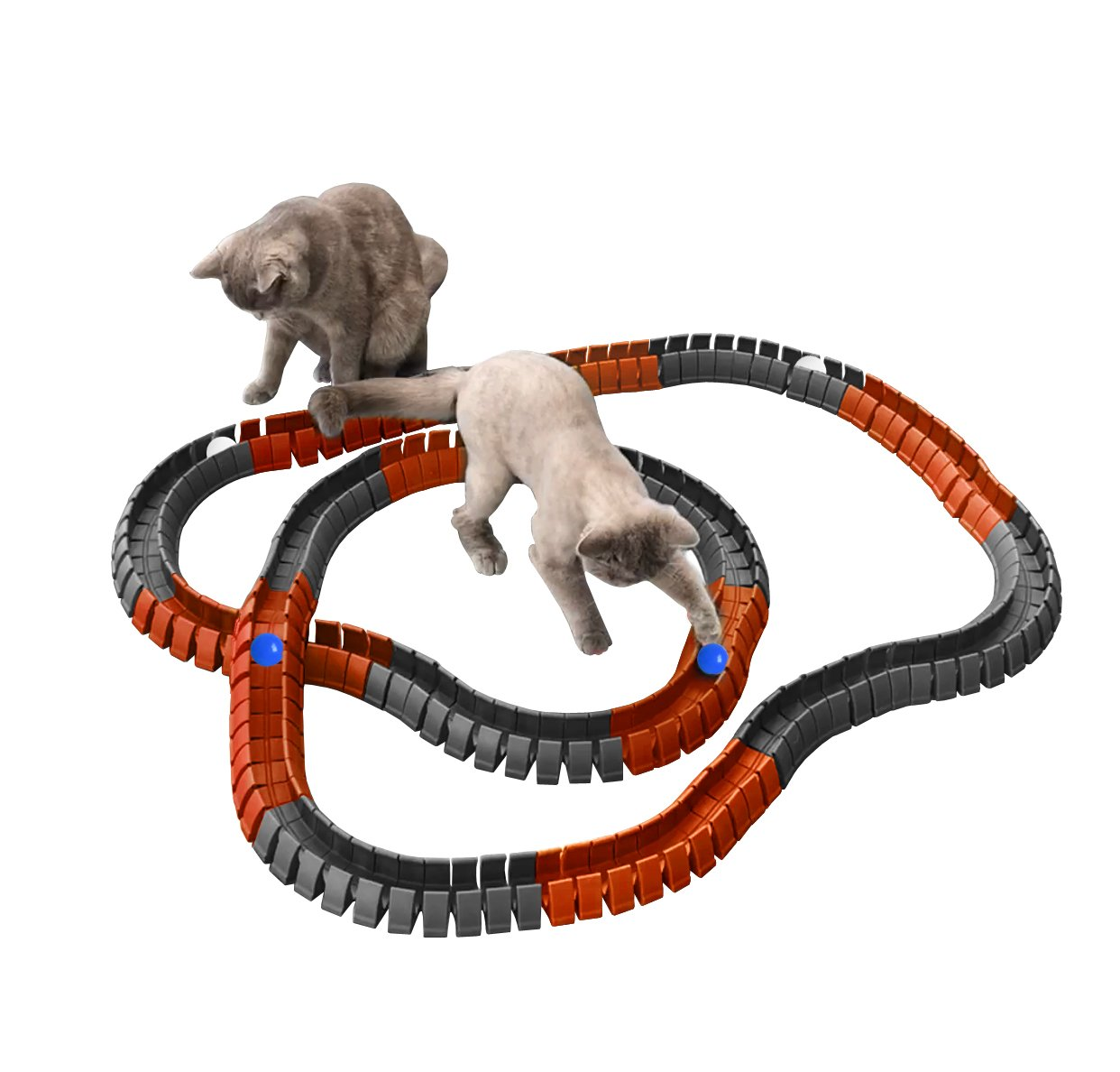 Magic Cat Track and Ball Toy Double Size for cats, kittens, pets, kitties, consisting of 16' flexible tracks and 4 balls, 8ft of orange tracks, 8ft of gray tracks with 2 white balls and 2 blue balls