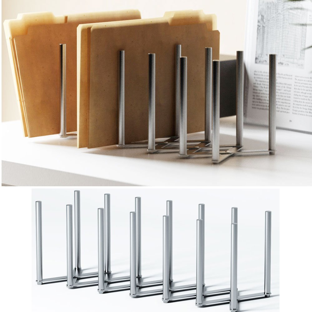 Adjustable Table Desk Top File Magazine Holder Stacking Sorter 6 Sectional Extends up To 23'' Length Stainless Steel