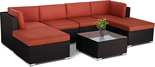 Patiomore 7-Piece Outdoor Patio Sofa Set Sectional Furniture Set All-Weather Wicker