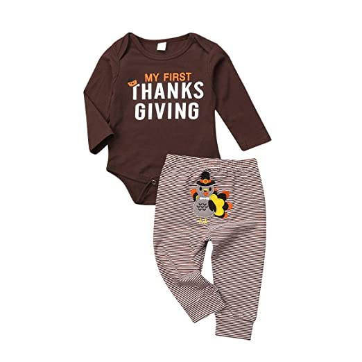 bb40bfc68dc Amazon.com  My First Thanksgiving Baby Boy Girl Outfit Cotton Long Sleeve  Romper+Striped Turkey Pants 2Pcs Set  Clothing