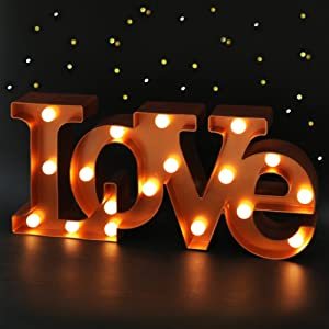 """Bright Zeal 16"""" x 7"""" Large Love Signs Decor for Bedroom LED Marquee Letter Lights (Bronze) - Large Light Up Love Sign for Wedding Table Decor - Wedding Signs for Ceremony and Reception with Stand"""