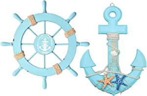 """Meching Nautical Decor 2 Pack 13"""" Wooden Ship Wheel and Wood Anchor with Rope Nautical Beach Boat Steering Rudder Bathroom Wall Decor Door Hanging Ornament(Light Blue)"""
