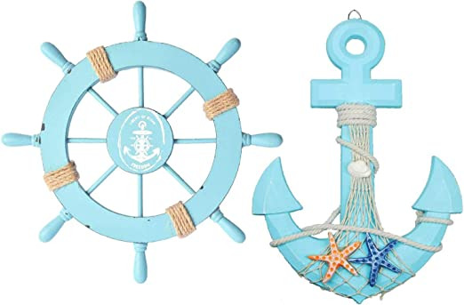 Ship Rudder Wall Decor Nautical Boat Wheel Beach Wooden Wood Hanging Decoration