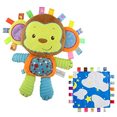INCHANT Lovey Baby Tag Blue Cloud Security Blanket Bundle with Cute Monkey Colorful Toy Plush : Baby