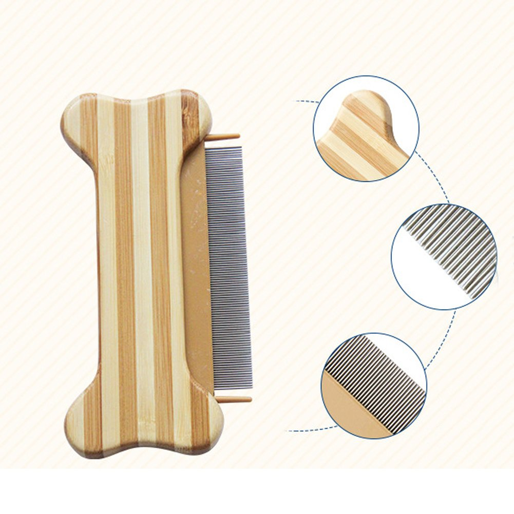 Moolon Bamboo Flea Comb for Dogs and Cats Lightweight Eco-friendly  Cleaning Pet Grooming Comb Bone Shape (bone shape)