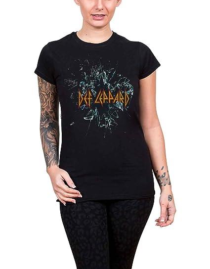 0cc2fc6e8c74fb Def Leppard T Shirt Shatter Band Logo Official Womens Junior Fit Black Size  8