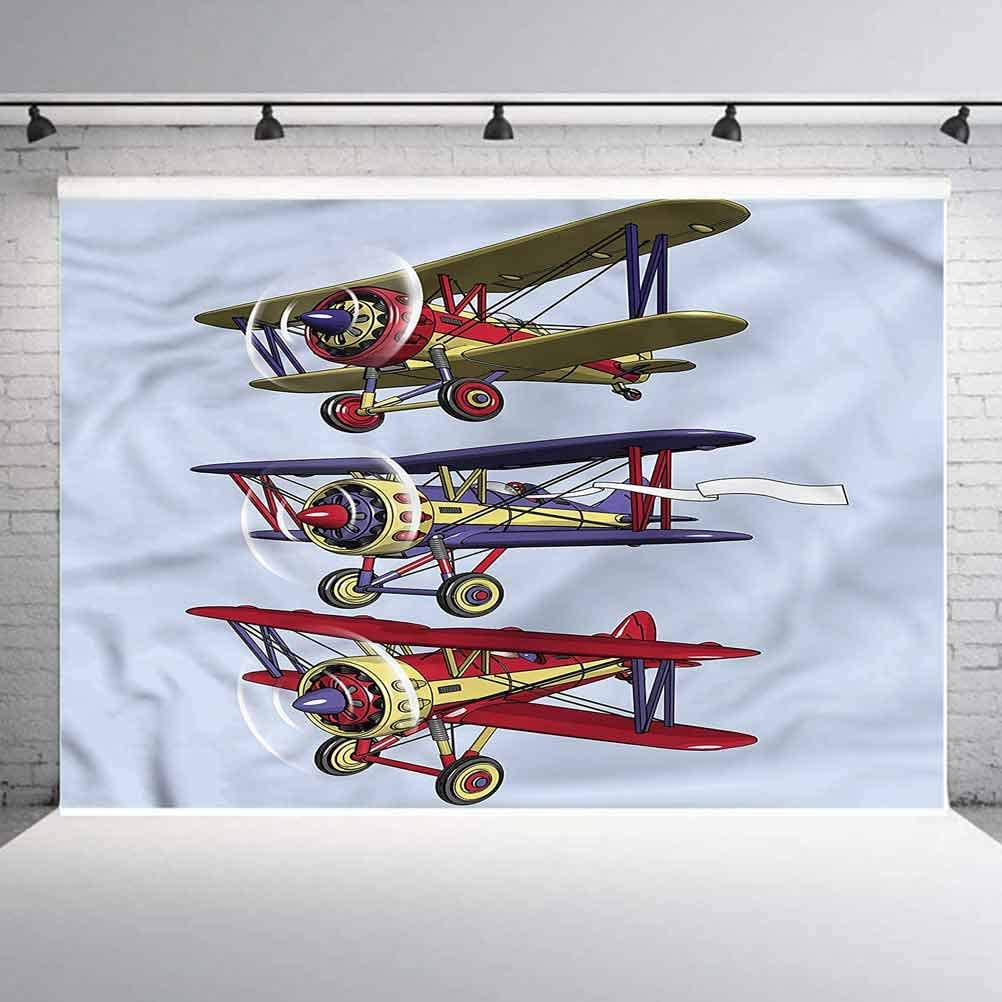 6x6FT Vinyl Wall Photography Backdrop,Airplane,Biplanes with Ink Painting Background for Baby Shower Bridal Wedding Studio Photography Pictures