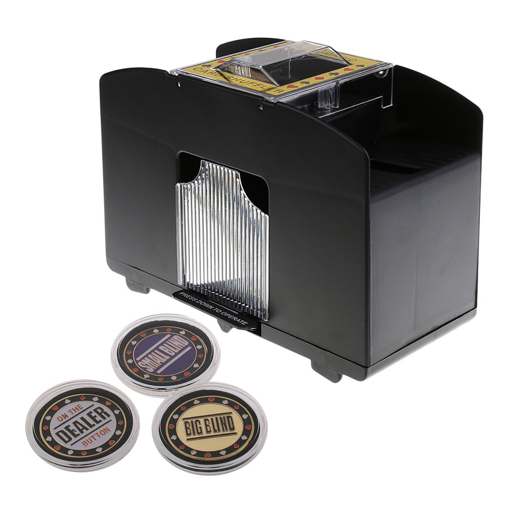 Homyl Elektrische Automatik Poker Karten Mischmaschine+Poker Card Guard Set