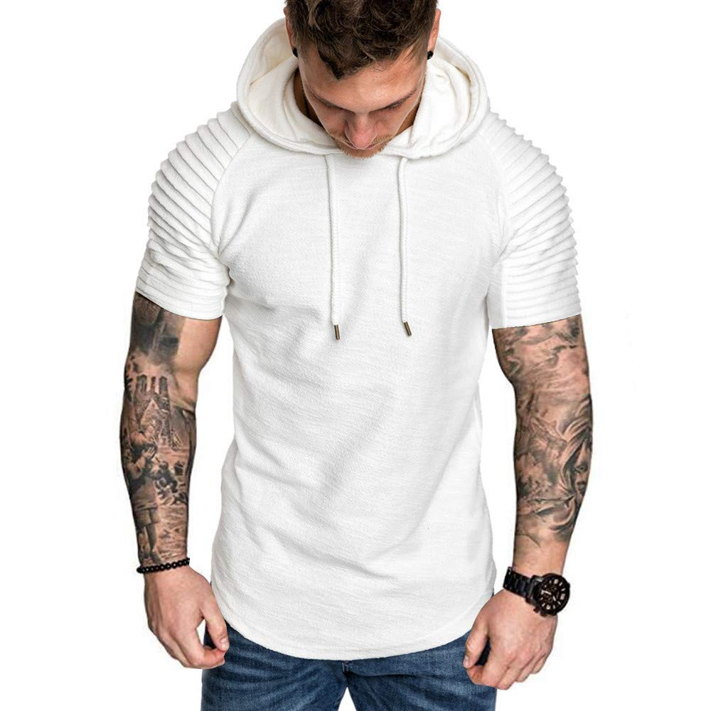 Sruiluo Men`s Blouse Fashion Pleats Slim Fit Raglan Short Sleeve Hoodie O-Neck Blouse White
