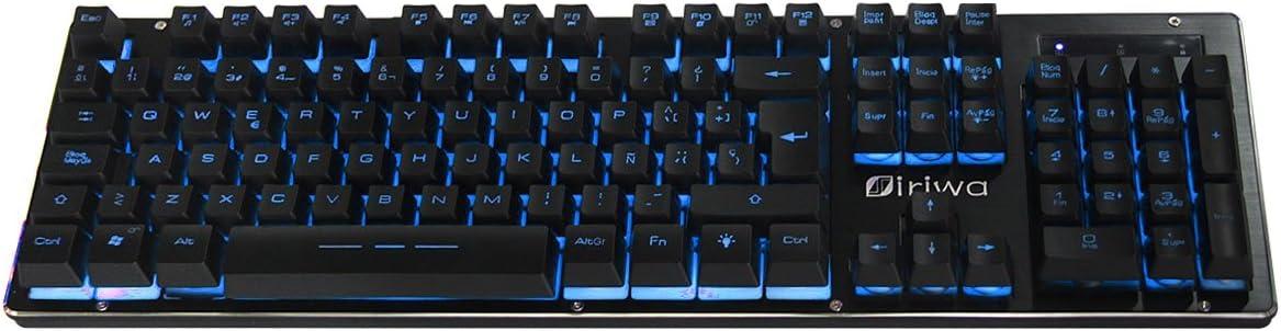 Teclado para Juegos Impermeable - Layout Español - GALOOK S-300 USB Gaming Keyboard 3 LED Retroiluminada - Negro