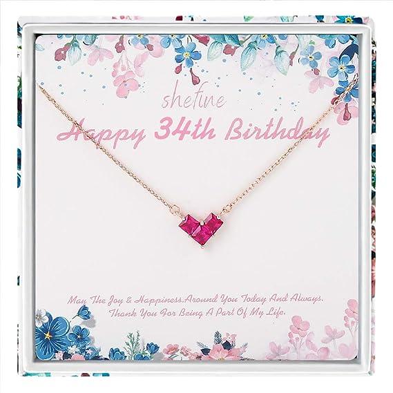 Regalo de cumpleaños 34 para mujer - Collar de plata de ley ...