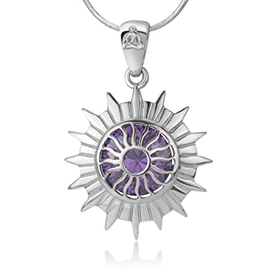 Amazon 925 sterling silver sahasrara crown chakra reiki 925 sterling silver sahasrara crown chakra reiki kundalini symbol purple cz pendant necklace 18quot aloadofball