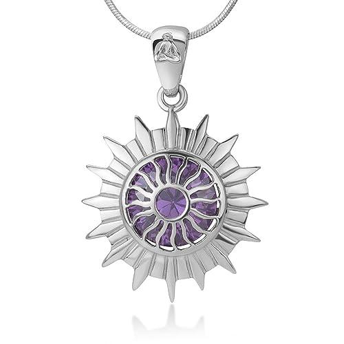 Chuvora 925 Sterling Silver Sahasrara Crown Chakra Reiki Kundalini Symbol Purple CZ Pendant Necklace 18