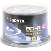 50-Pack RiDATA BDR-254-RDIWN-CB50 25GB 4X Inkjet Printable 25GB BD-R Blu-Ray Disc Spindle