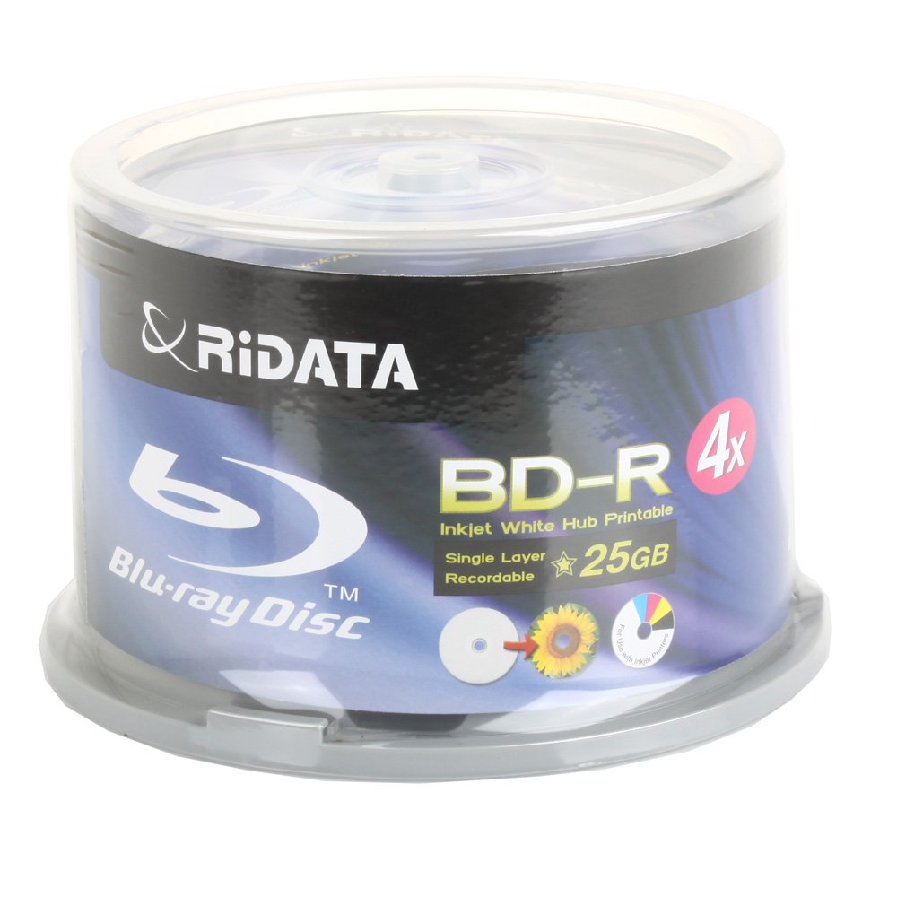 Ritek Ridata Blu-Ray (BD-R) White Inkjet Hub Printable 4X BD-R Media 25GB 50 Pack in Cake Box (BDR-254-RDIWN-CB50)