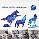 Amaonm Creative Blue Vinyl Starry Sky Wolf and Moon Stars Wall Decals Removable Stickers Living room Decor Home art Kids Bedroom Decal Nursery Sticker Boy Rooms Mural Children Gift Sticker Decal