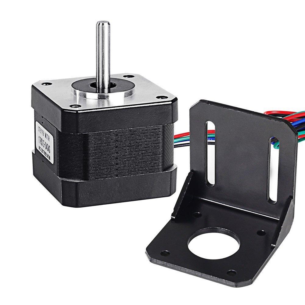 Doris Direct NEMA17 stepper Motor per stampante 3D 1.8 gradi 0.4A /12V 37oz.in(26Ncm) 42mm motore per CNC Xyz + NEMA17 passo-passo staffa di montaggio con viti