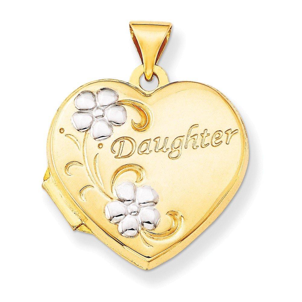 Top 10 Jewelry Gift 14k & Rhodium Daughter Floral 18mm Heart Locket