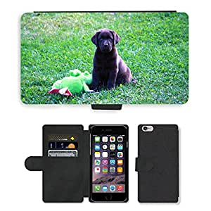 """Hot Style Cell Phone Card Slot PU Leather Wallet Case // M00108192 Dog Puppy Summer // Apple iPhone 6 4.7"""""""