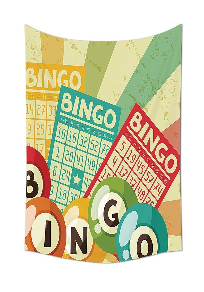 Vintage Decor Tapestry Bingo Game with Ball and Cards Pop Art Stylized Lottery Hobby Celebration Theme Wall Hanging for Bedroom Living Room Dorm Multi by asddcdfdd