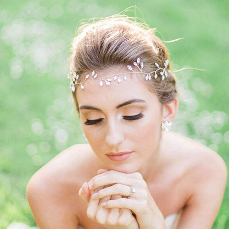Yean Bride Wedding Headband Decorative Bridal Hair Vine Accessories Pearl Flower Leaf Crystal Rhinestone Headpieces for Women (Gold-001)