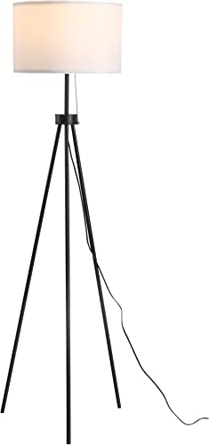 HOMCOM 59.75″ Floor Lamp Standing Lamp Fabric Lampshade E26 Lamp Holder Steel Tripod Living Room