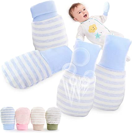 2 /& 4 Pairs Baby Anti Scratch Mittens With Wrist Cuffs Blue Pink or White Mittens