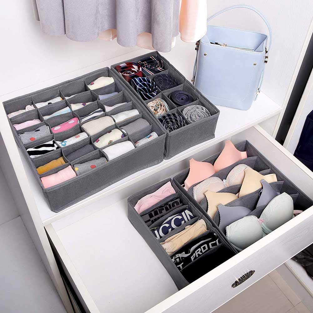 Beige Scarves Socks fanshiontide 4 Pcs Drawer Organisers Collapsible Closet Dividers Foldable Fabric Storage Box for Bras Neck Ties Handkerchiefs
