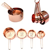 Copper Stainless Steel Measuring Spoons, Set of 6 - Gorgeous & Heavy Duty, Mirror Polished, Ideal For All Ingredients ¡