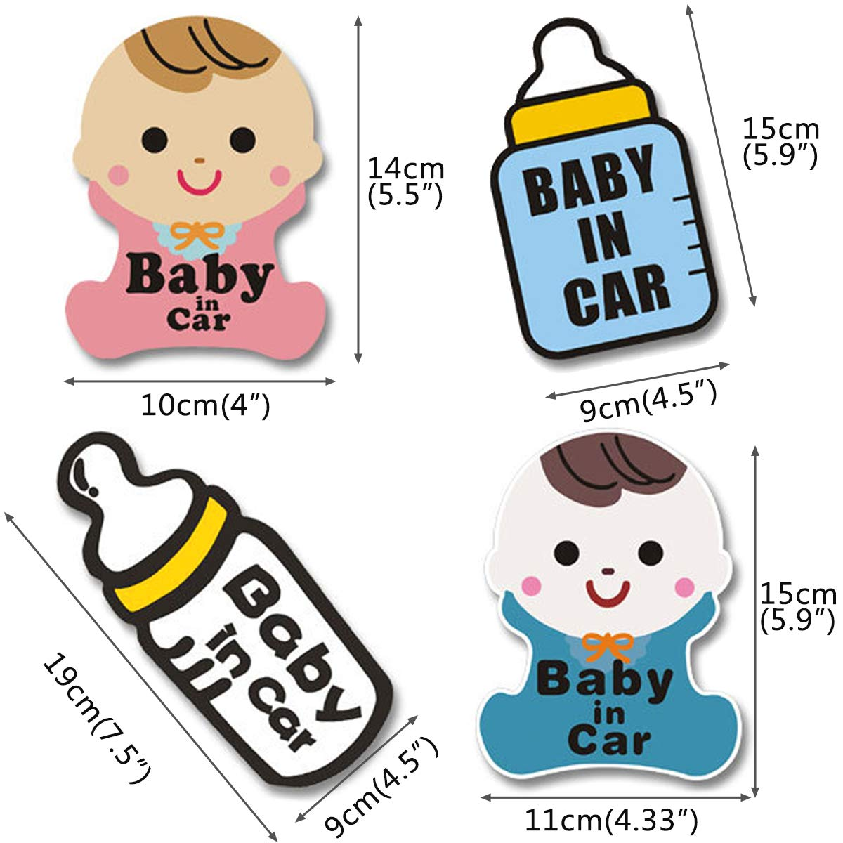 Baby on Board Sign Wpxmer 4 Pack Baby in Car Stickers New and Unique Shape Warning Board More Noticeable Baby Signs