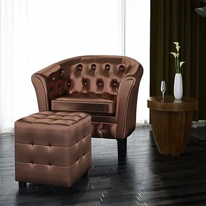 Amazon.com: Festnight Cube Armchair Leather Single Sofa ...