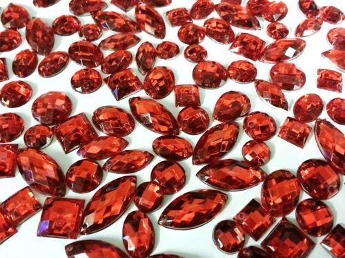 CraftbuddyUS 80 Red Faceted Acrylic Sew On, Stick on Diamante Crystal Rhinestone Gems (Red Rhinestones)