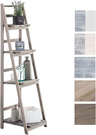 CLP Estantería Escalera Plegable Kirsten I Estantería Librería De Madera con 4 Estantes I Estantería Decorativa En Estilo Rústico I Color: Marrón Oscuro: Amazon.es: Hogar