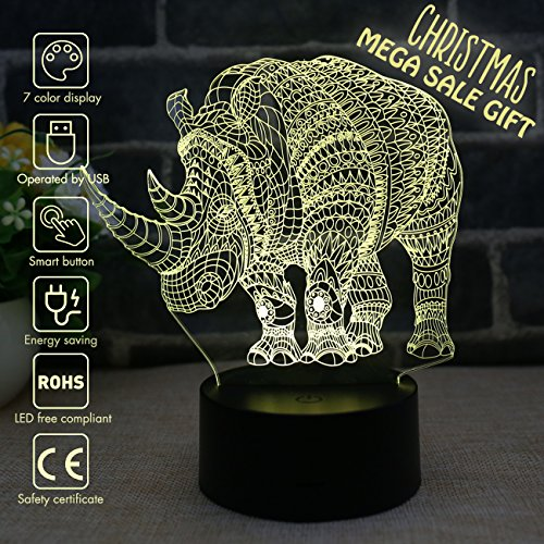 3D LED Night Light Lamps, 3D Optical Illusion 7 Colors Touch Table Desk Visual Lamp for Home Decoration (Rhinoceros)