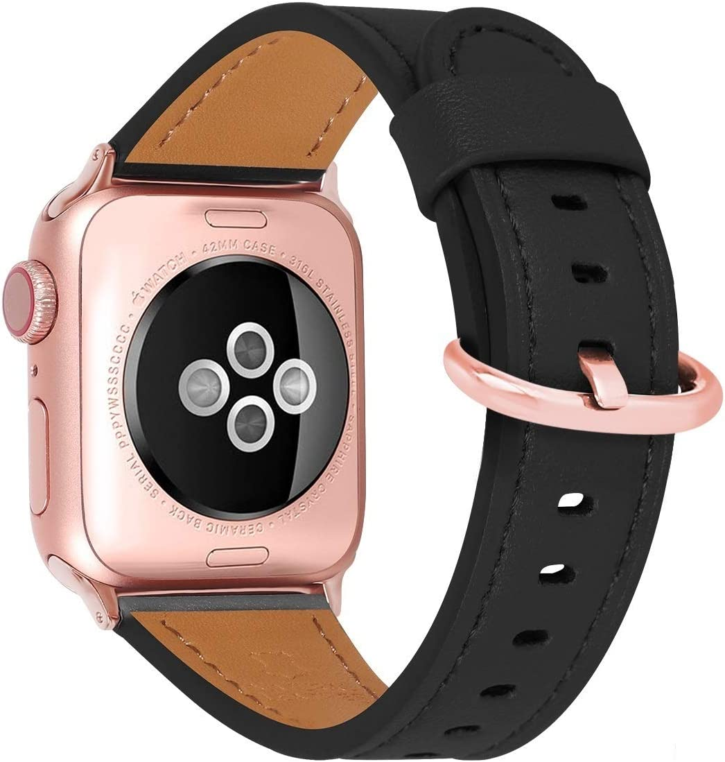 HUAFIY Compatible iWatch Band 38mm 40mm, Top Grain Leather Band Replacement Strap iWatch Series 6/5,Series 4,Series 3,Series 2,Series 1, SE,Sport, Edition (Black Band+rose gold, 38mm40mm)