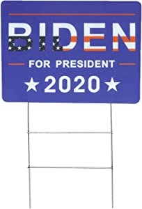 LOCOLO Joe Biden for President 2020 Political Campaign Yard Sign Large 24x18 Inch with Included Lawn H-Stake - 2020 American Presidential Election Democrat Party Poster Support Sign