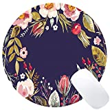 "Wknoon Round Gaming Mouse Pad Custom Design, Vintage background with hand drawn floral wreath, 8"" Non-slip Rubber Mousepad Mat"