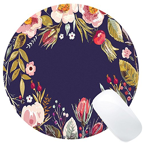 Wknoon Vintage Colorful Hand Drawn Floral Wreath Art Navy Blue Round Mouse Pad Custom, Retro Colored Flowers Artwork Circular Mouse Pads for Computers Laptop
