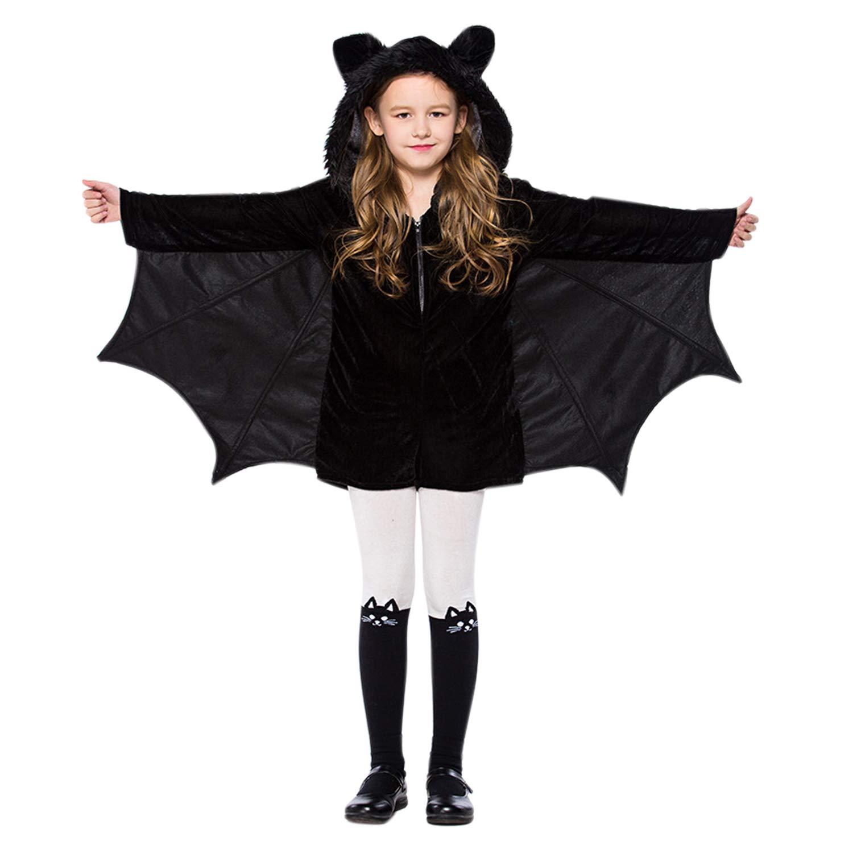 De feuilles Halloween Klein Kind Kinder Kostüm Kleidung Vampir Fledermausflügel Umhang Kapuze Overall Jumpsuit Wollmantel