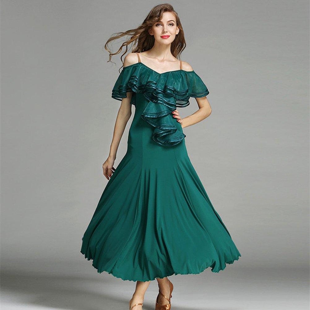 Women French Classic Luxury Big Lotus Leaf Swing Ice Silk Latin Dance Costume Flamenco Ballroom Waltz Salsa Dance Dress