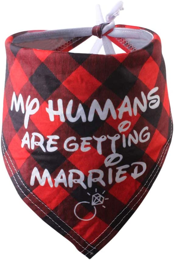POPETPOP My Humans are Getting Married Wedding Dog Bandana Triangle Bibs Scarf Engagement Announcement Wedding Photo Prop for Cat Puppy