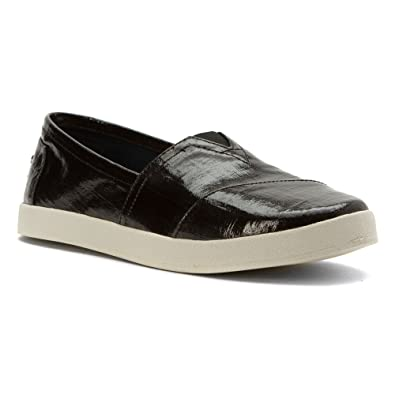 f860790cb93 TOMS Womens Avalon Slip On Black Patent Linen  Amazon.co.uk  Shoes   Bags