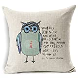 "Onker Cotton Linen Square Decorative Throw Pillow Case Cushion Cover 18"" x 18"" Owl Sayings"