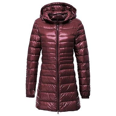 Vertvie Damen Daunenjacke Lange Winterjacke mit Kapuze Ultra Leicht Daunenmantel Steppjacke Parka Jacke